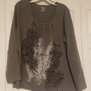 Relaxed by Chater Club Women's 3X gray Shirt